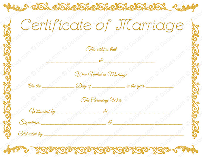 Marriage Certificate Template Microsoft Word Printable Marriage Certificate Template Dotxes