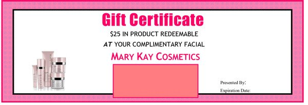Mary Kay Gift Certificates Pdf Mary Kay Gift Certificate Script