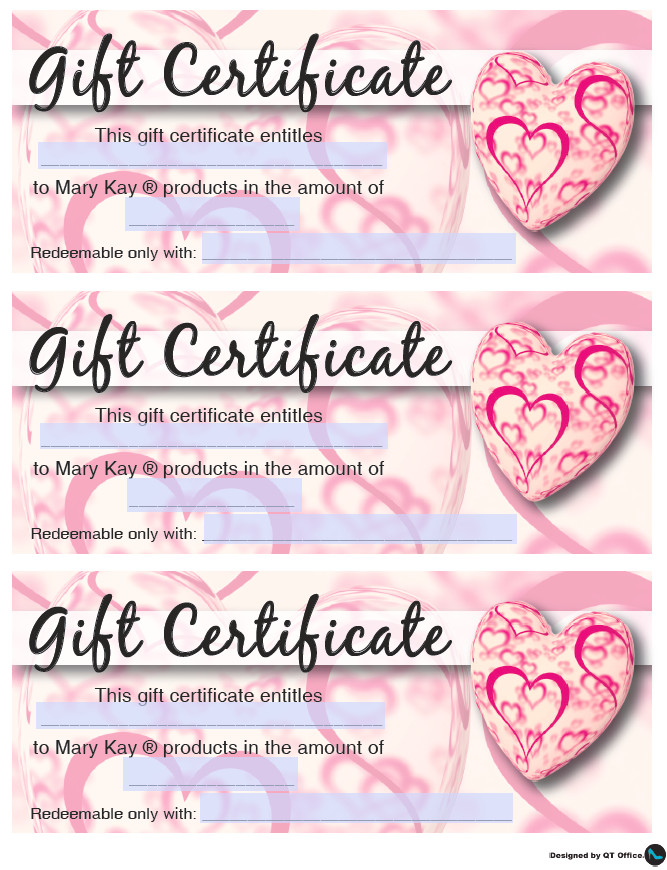 Mary Kay Gift Certificates Pdf Mary Kay Valentine S Gift Certificates