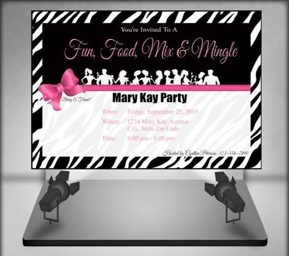 Mary Kay Invitation Templates Mary Kay Zebra Party Invitation by Ofcreativity On Etsy