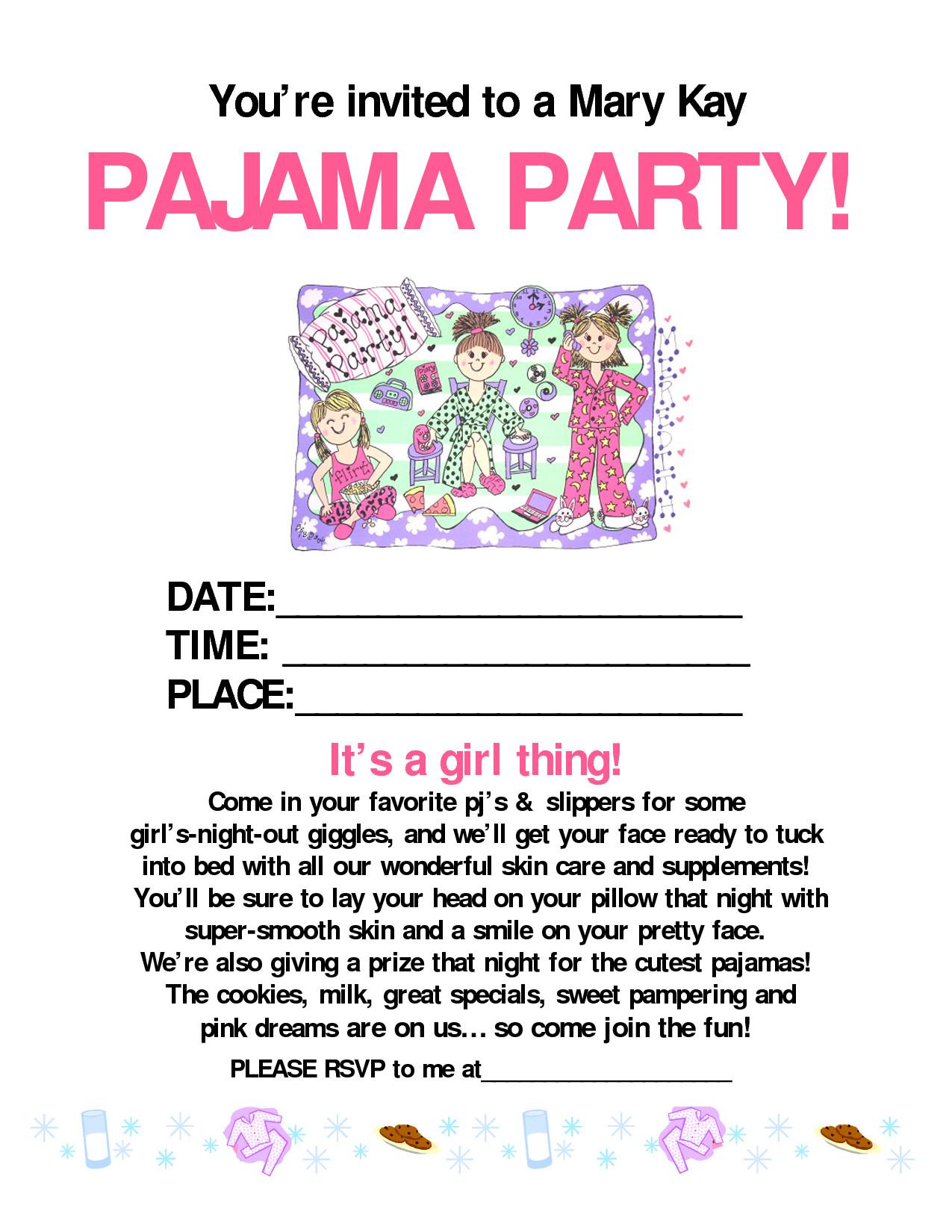 Mary Kay Invitation Templates Pajama Party Mary Kay Mary Kay Pinterest