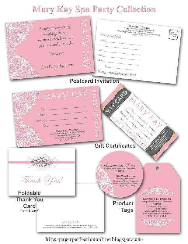 Mary Kay Invitation Templates Paper Perfection Mary Kay Spa Party Printables