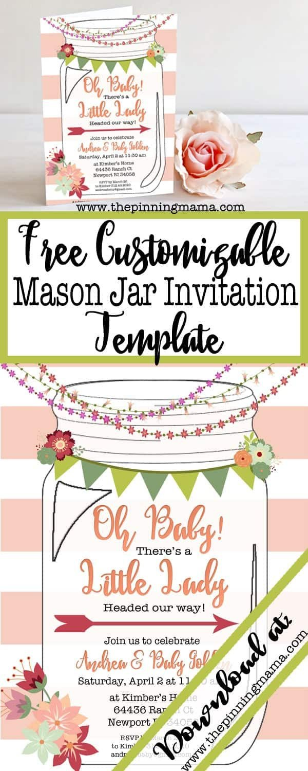 Mason Jar Invitation Template Free Printable Mason Jar Invitation