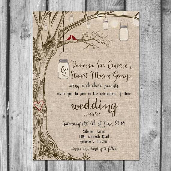Mason Jar Invitation Template Lovebirds & Mason Jars Wedding Invitation Set
