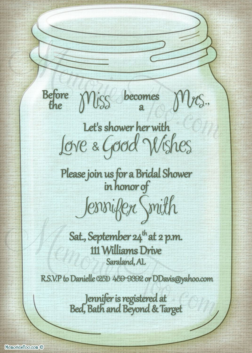 Mason Jar Invitation Template Mason Ball Jar Invitation Diy Printable Choose Your by