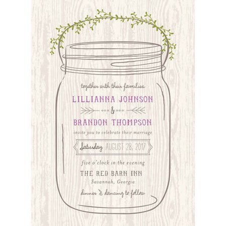 Mason Jar Invitation Template Mason Jar Standard Wedding Invitation Walmart