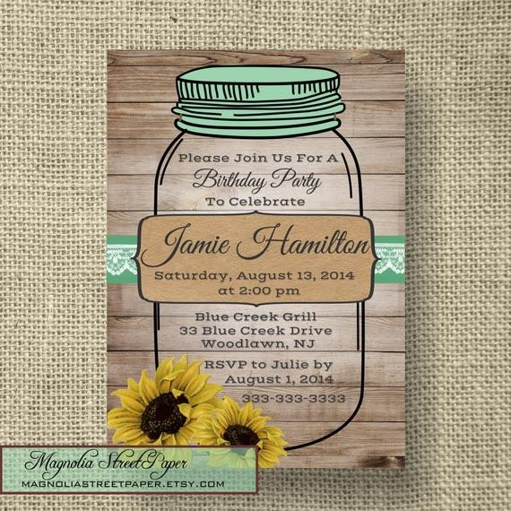 Mason Jar Invitation Template Printable Mason Jar Birthday Invitation by Magnoliastreetpaper