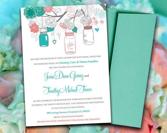 Mason Jar Invitation Template Printable Wedding Invitation Template Mason by