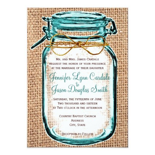 Mason Jar Invitation Template Rustic Country Mason Jar Burlap Wedding Invitation