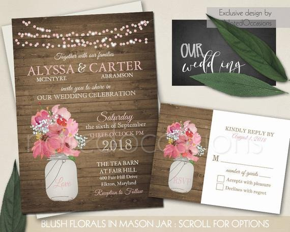 Mason Jar Invitation Template Rustic Wedding Invitation Mason Jar Wedding by Notedoccasions