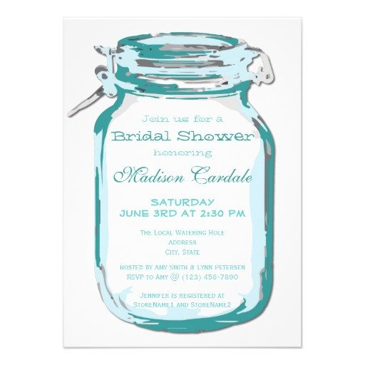 "Mason Jar Invitation Template Teal Mason Jar Country Bridal Shower Invitations 4 5"" X 6"