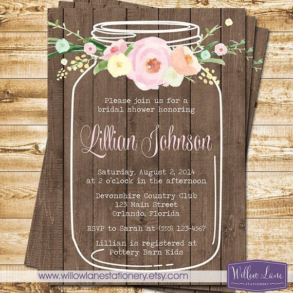 Mason Jar Invitation Template Watercolor Flowers Mason Jar Bridal Shower Invitation Wood