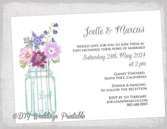 Mason Jar Invitation Template Wedding Invitation Template Mason Jar Printable