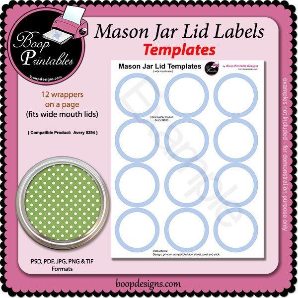 Mason Jar Label Template Jar Lid Label Template 5294 by Boop Printable Designs