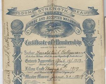 Masonic Certificate Template Free Etsy Studio