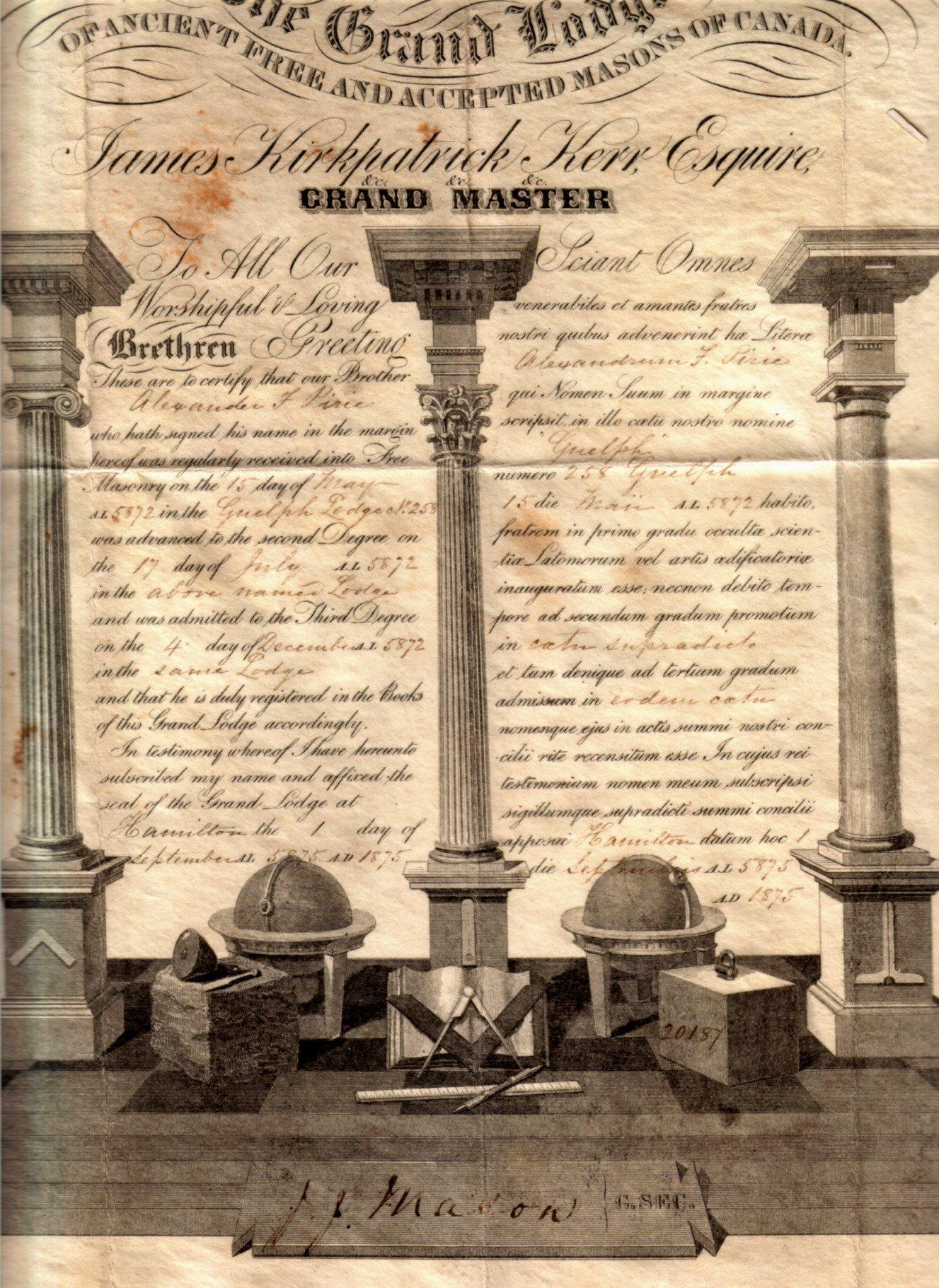 Masonic Certificate Template Free File Pirie A F 1875 Masonic Certificate