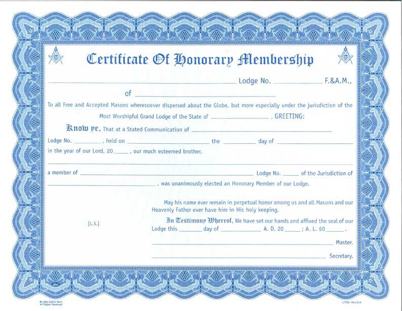 Masonic Certificate Template Free Honorary Membership Certificate Card Envelope – the Grand
