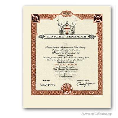 Masonic Certificate Template Free Knight Templar Certificate Masonic Certificates Awards