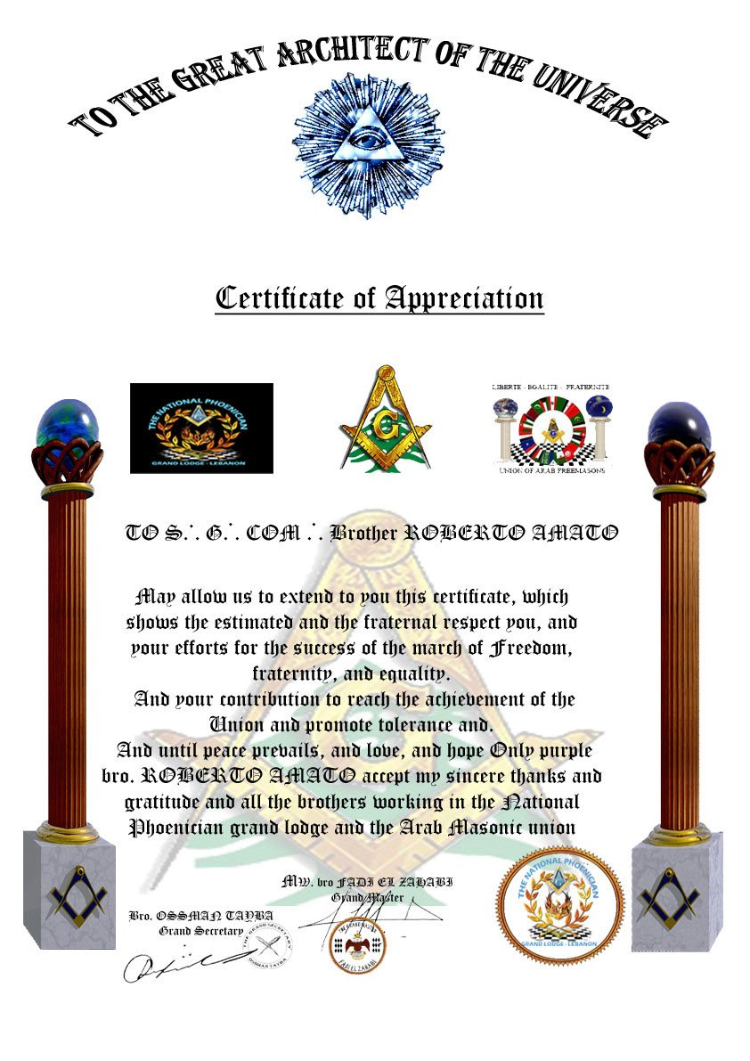 Masonic Certificate Template Free Masonic Award Certificate Template