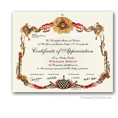 Masonic Certificate Template Free Masonic Certificates Awards and Diplomas Freemason