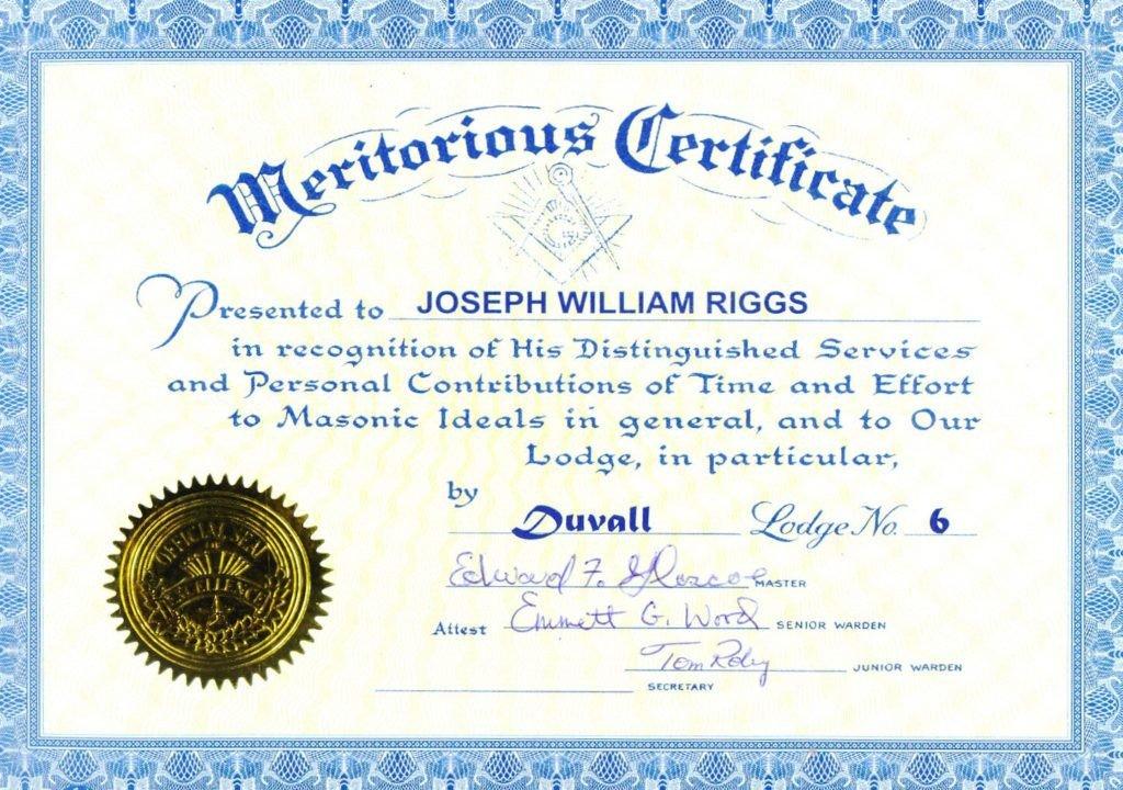 Masonic Certificate Template Free Masonic Service Certificate