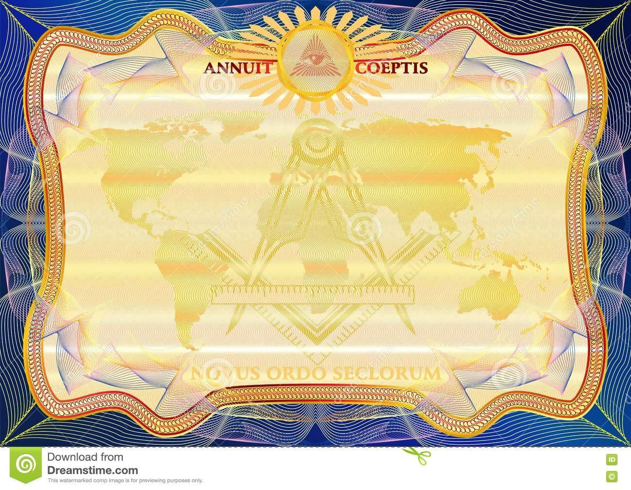 Masonic Certificate Template Free Masons Certificate Diploma Template Award Pattern Stock