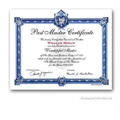 Masonic Certificate Template Free Past Master Certificate Masonic Certificates Awards and