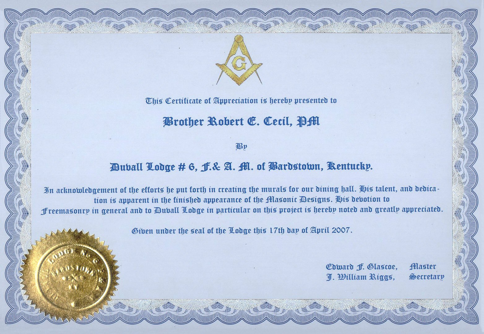 Masonic Certificate Template Free Recognition Certificates