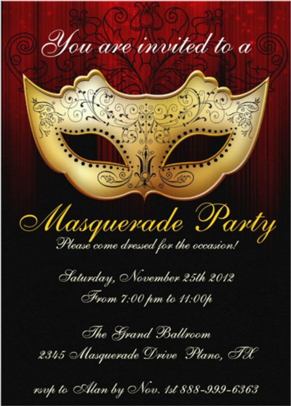 Masquerade Invitations Template Free 20 Masquerade Invitation Templates Word Psd Ai Eps