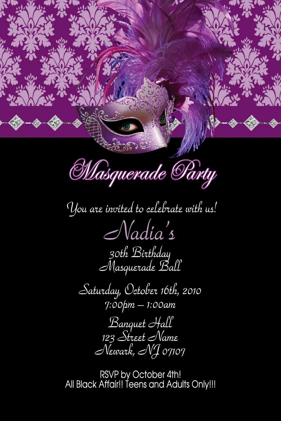 Masquerade Invitations Template Free Hollywood theme Quinceanera Quinceanera themes