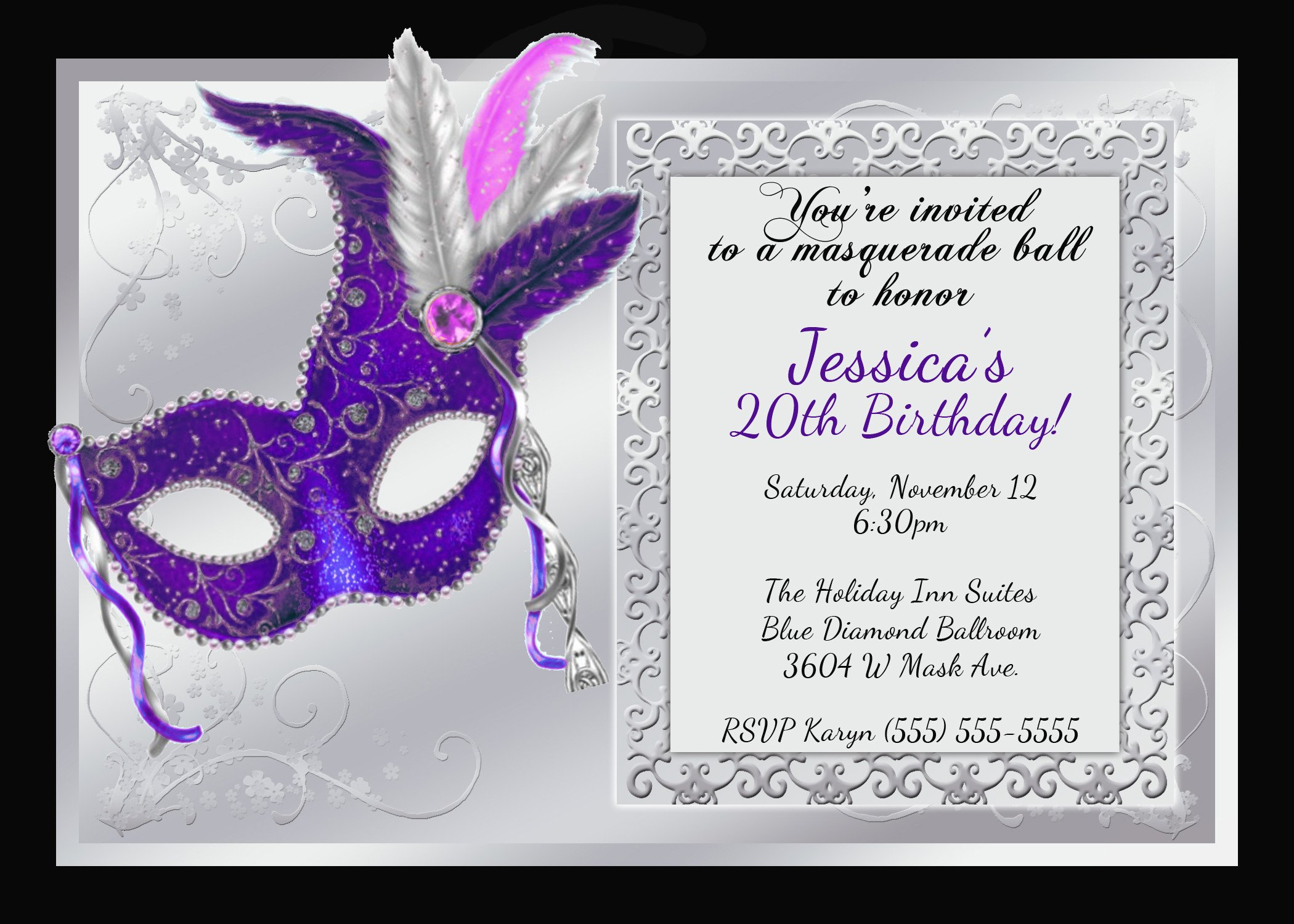 Masquerade Invitations Template Free Mardi Gras and Masquerade Birthday Invitations