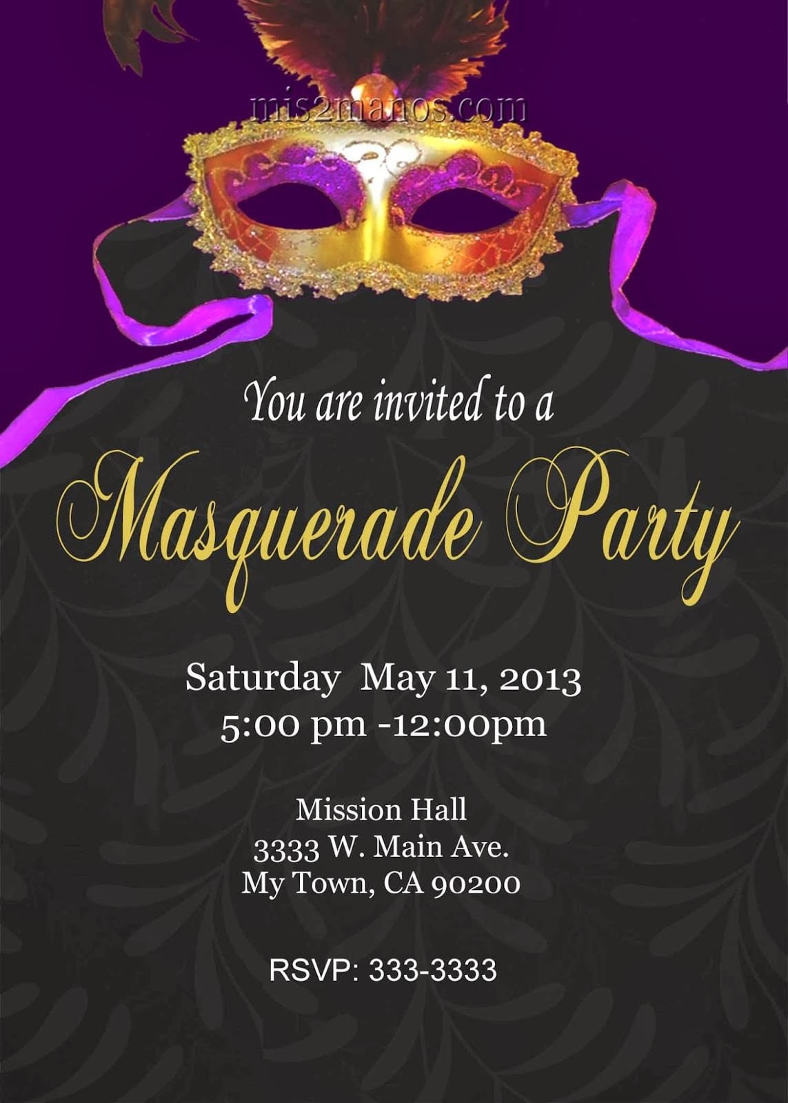 Masquerade Invitations Template Free Mardi Gras Invitation Free Printable