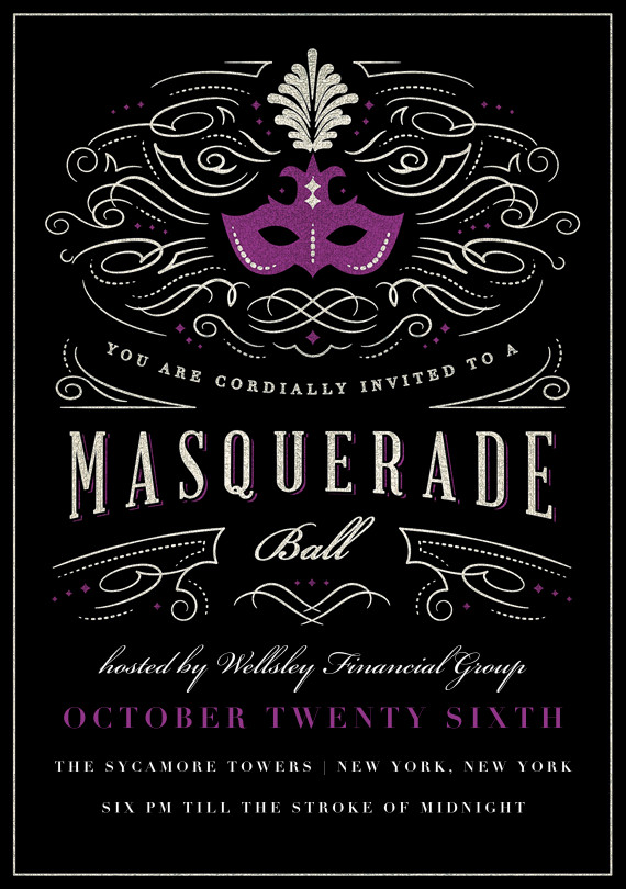 Masquerade Invitations Template Free Masquerade Ball Invitations In Purple In 2019