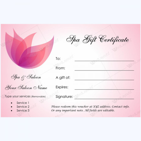 Massage Gift Certificate Template Gift Certificate 02 Word Layouts