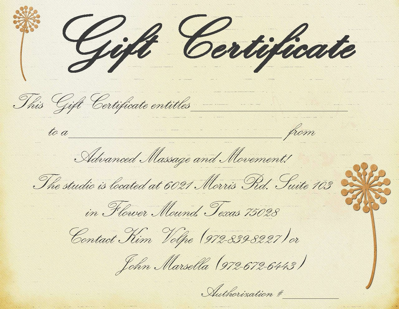 Massage Gift Certificate Template Gift Certificate