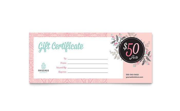 Massage Gift Certificate Template Massage Gift Certificate Template Word & Publisher