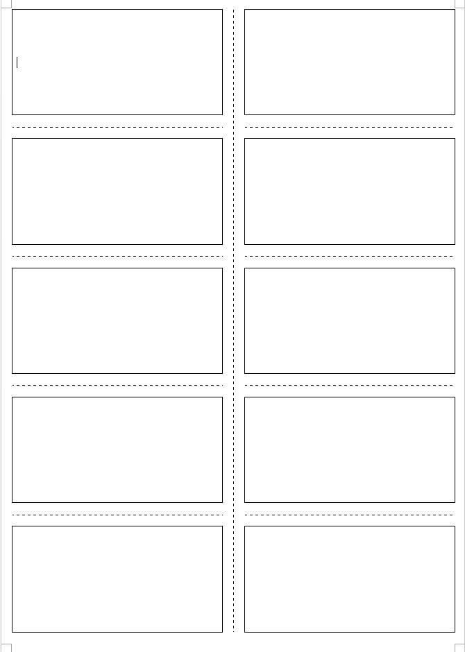 Matching Test Template Microsoft Word Cards