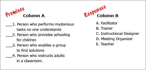 Matching Test Template Microsoft Word Test Review – English 109