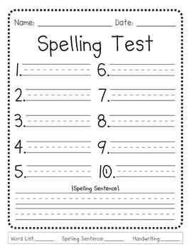 Matching Test Template Microsoft Word This Generic Spelling Test Template is Perfect for