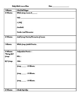 Math Lesson Plan Template Daily Math Lesson Plan Template by Marci Bennett