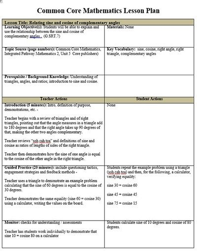 Math Lesson Plan Template Mon Core Lesson Plan Template