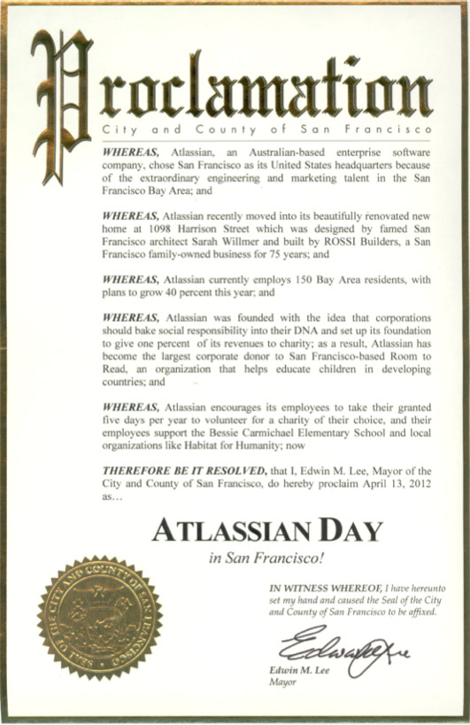 Mayoral Proclamation Template April 13 Henceforth atlassian Day In San Francisco No