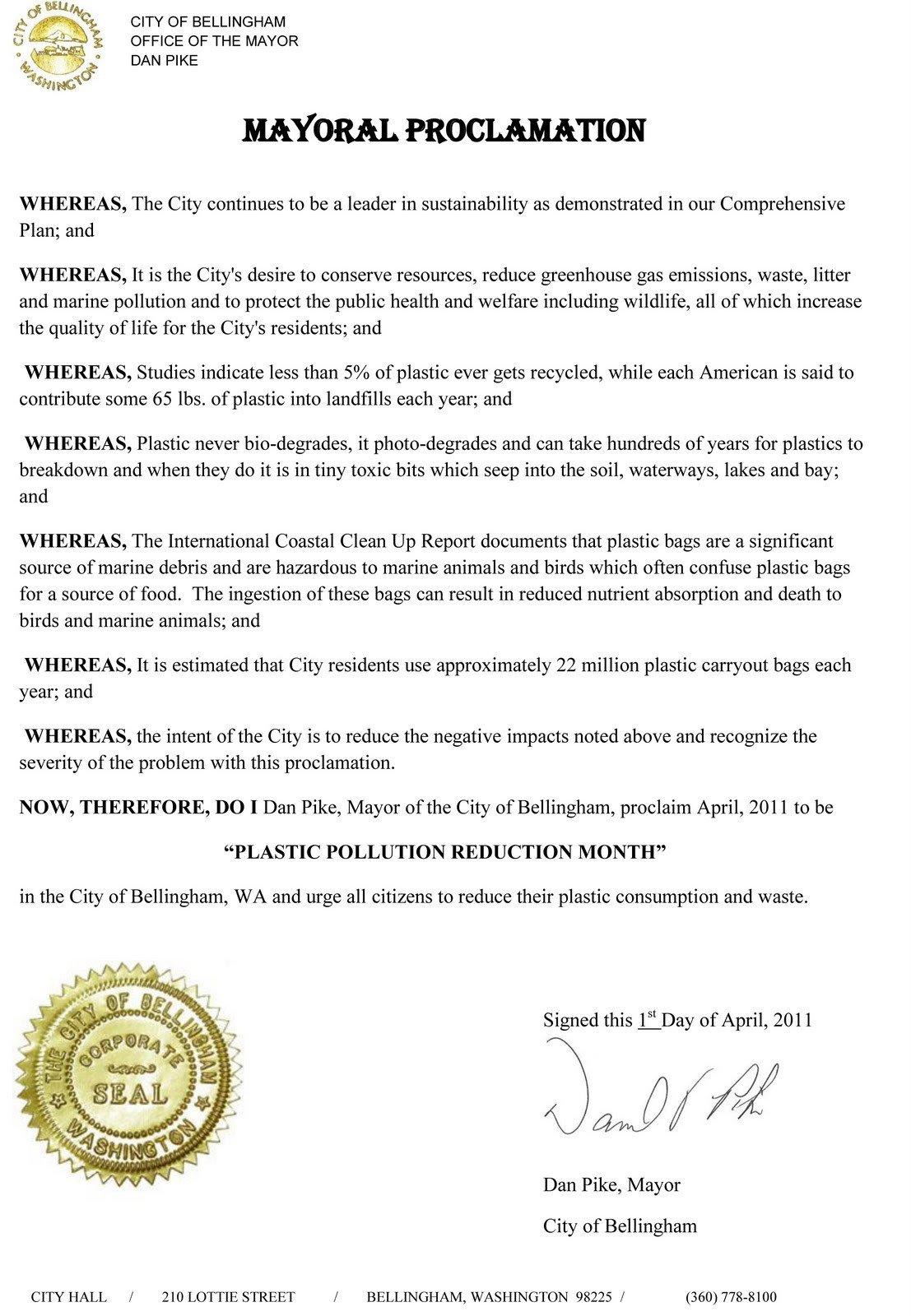 Mayoral Proclamation Template Bag It Bellingham