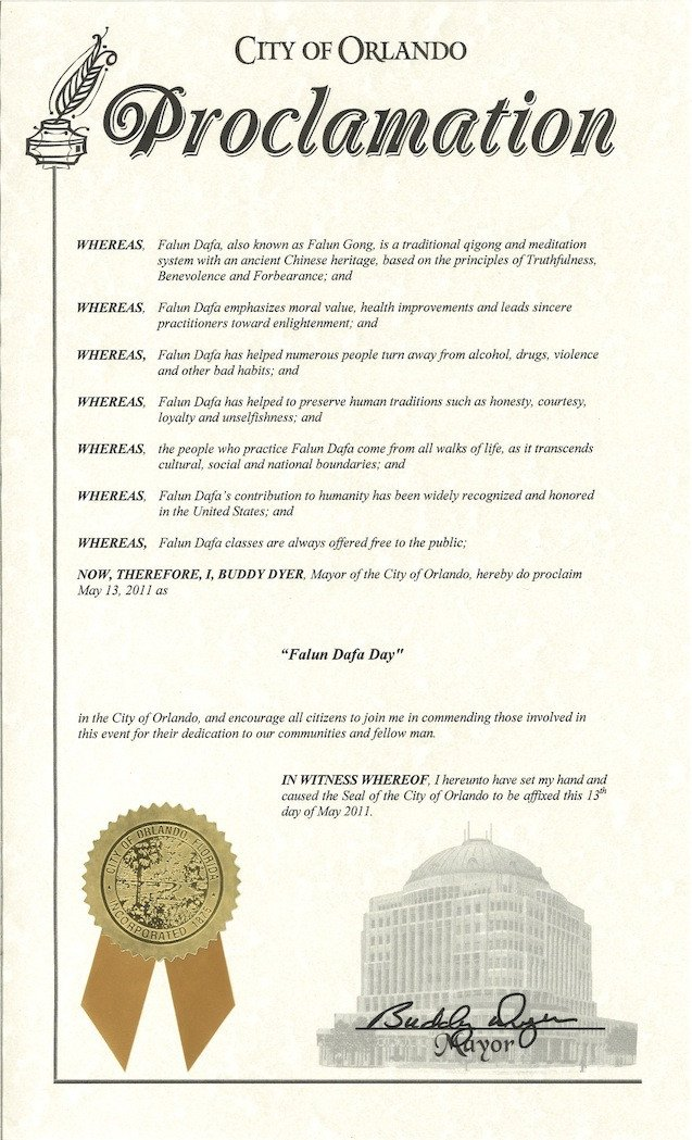 Mayoral Proclamation Template Florida Mayor Buddy Dyer Of City Of orlando Proclaims May