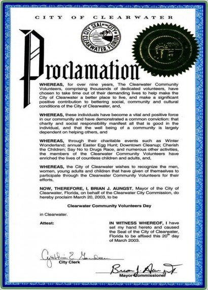 Mayoral Proclamation Template Mayor's Proclamation