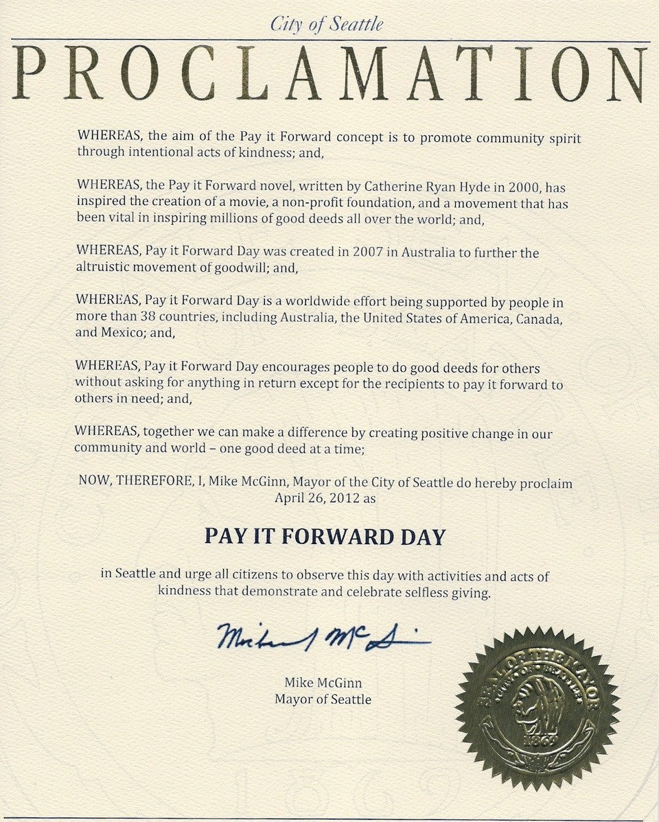 Mayoral Proclamation Template Obtain A Proclamation — Pay It forward Day