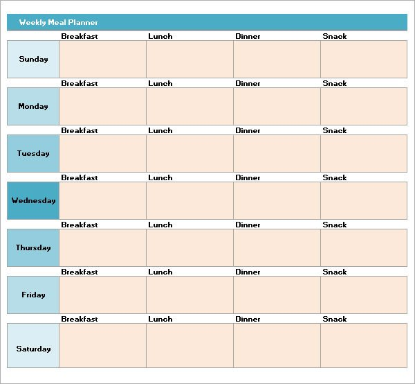 Meal Plan Excel Template Meal Plan Template Excel