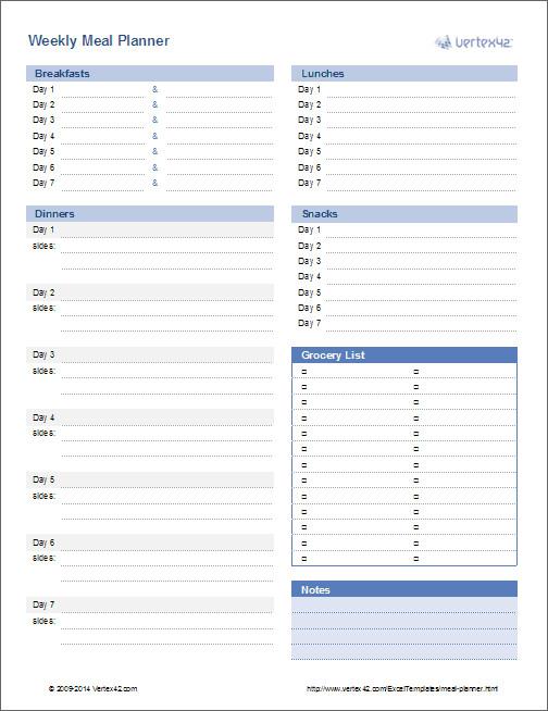 Meal Plan Excel Template Meal Planner Template Weekly Menu Planner