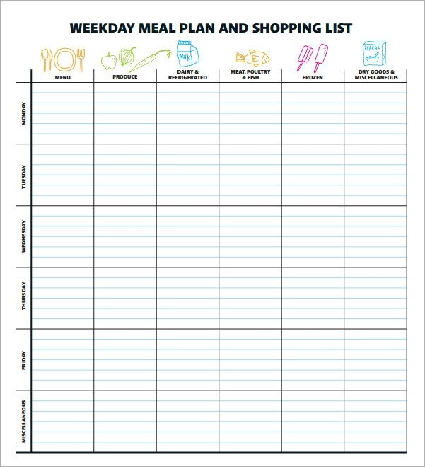 Meal Plan Template Excel 18 Meal Planning Templates Pdf Excel Word