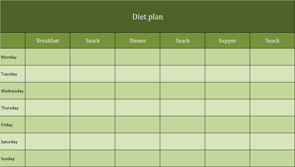 Meal Plan Template Excel Diet Plan as Excel Template